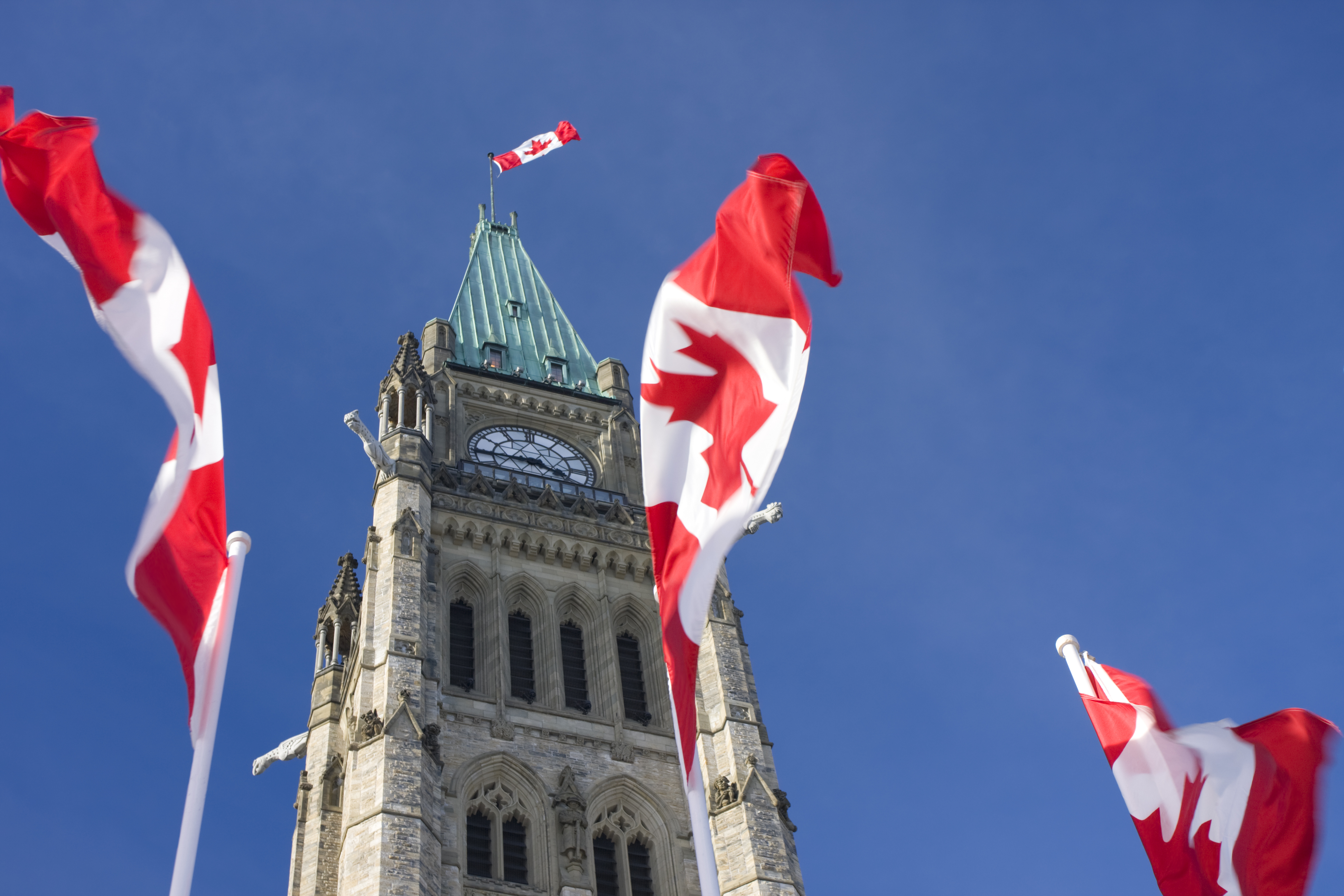 Parliament of Canada, Peace Tower, Canadian Flags,